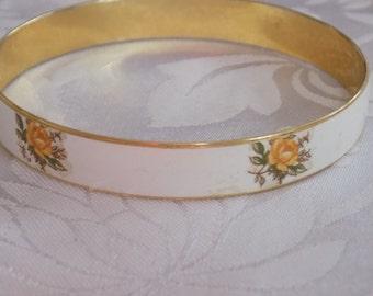 """Vintage bracelet, Yellow roses bangle bracelet, marked """"Japan"""" bracelet, 8 inch bracelet, yellow and white bangle"""