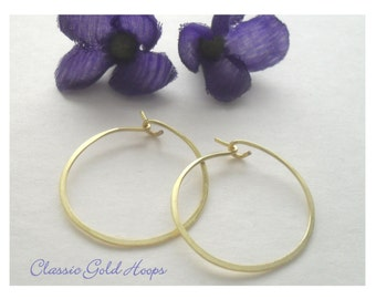 "SALE Hammered Gold Hoop Earrings, Classic Hoops, 1"" Hoop Earrings, 1.25"" Hoop Earrings, Silver Hoops, Simple Hoops, Valentines Day Sale"
