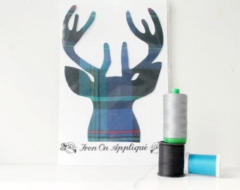 Iron On Buck Deer Applique Design Blue Plaid by TrashN2Tees