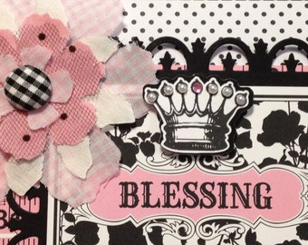 Baby Girl Card, Welcome Baby Card, Blessing, Baby Carriage