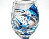 Hand Painted Wine Glasses Sailfish  Hand Painted Bass Fish  Painted 20oz. Wine glass One Glass Fathers Day Gift Birthday Jumping Sailfish