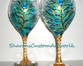 Peacock Feathers Hand Painted Wine Glasses Set of 2 /20 oz Handpainted Wine Goblets Wedding Anniversary Birthday Any Occasion/ Made To Order
