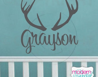 Antler Personalized Custom Name Vinyl Wall Decal Lettering Deer Buck Room Decor