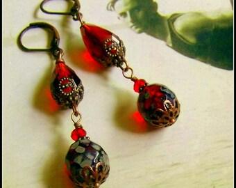 Red Rose Czech Glass Earrings, Red Crystal Vintage Style Earrings, Downton Abbey Red Earrings, Ruby Red Czech Glass Earrings, Gothic Red
