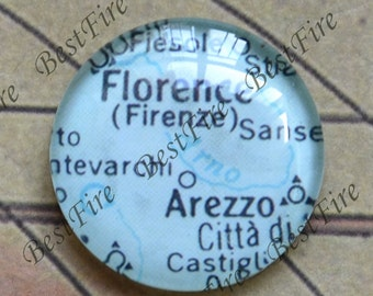 10mm,12mm,14mm,16mm,18mm,20mm,25mm Round Photo Glass Cabochons Florence Map,jewelry Cabochons finding beads,Glass Cabochons,Map Cabochons
