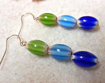 Tribal Look Glass Beaded Earrings, Unisex Earrings