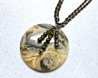 Gorgeous Gemstone Pendant on Black Chain, Pendant Necklace, Gemstone Jewelry