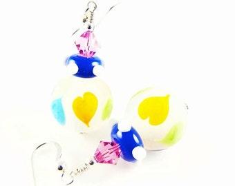 Heart Lampwork Earrings, Glass Bead Earrings, Dangle Mod Earrings, Colorful Lampwork Jewelry, Beadwork Earrings, Yellow Green Earrings
