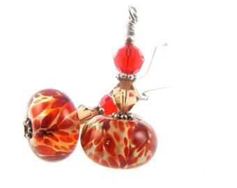 Red Tan Lampwork Earrings, Glass Bead Earrings, Dangle Earrings, Boro Beaded Earrings, Lampwork Jewelry, Beadwork Earrings