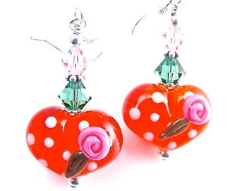 Heart Lampwork Earrings, Orange Dangle Earrings, Glass Bead Earrings, Glass Bead Jewelry, Beadwork Earrings, Polka Dot Lampwork Jewelry