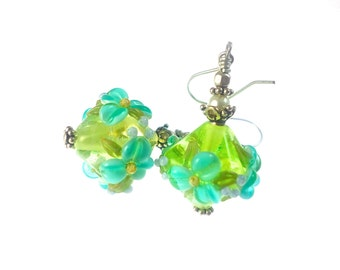 Teal Flower Lampwork Earrings, Glass Bead Earrings, Green Dangle Earrings, Beadwork Earrings, Lampwork Jewelry, Floral Beaded Earrings