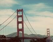 Golden Gate Bridge - San Francisco photo, landmark, landscape photography, travel photo, wall decor, mid century, art deco