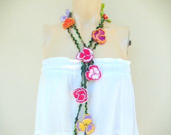 Pansies Crochet Scarf-Lariat Scarf-Flower Necklace Scarf-Handmade Loop Scarf -Crochet Infinity Scarf