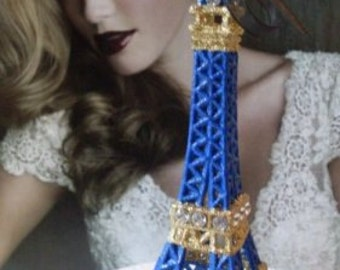 Eiffel Tower Wedding Cake Topper Cobalt Blue/Gold  LJOCollection  MEASURES  5 & 1/2 INCHES TALL  We Ship Internationally
