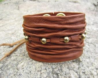 Leather Cuff Bracelet Men & Women's Wristband Beaded Wrap Armlet Bicep Arm Band Urban Warrior Jewelry