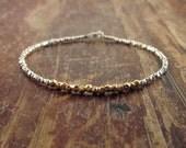 Woman's Beaded Bracelet 22K Gold Vermeil Beads Hill Tribe Silver Bracelets Teen Girls Beadwork Bracelet Simple Bracelet Silver Gifts for Her
