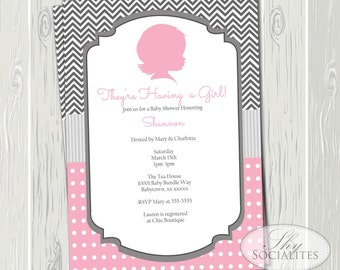 Cameo Baby Girl Silhouette Invitation | Chevron, Polka Dots, Pink, Grey, Baby Shower OR Birthday | INSTANT DOWNLOAD pdf