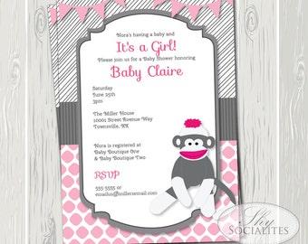 Preppy Pink Sock Monkey Invitation | Monkey Baby Shower, Monkey Birthday, 1st 2nd 3rd Birthday, First Birthday | INSTANT DOWNLOAD