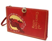 Red Book Clutch Vintage Purse made from Book of Love Lyrics, with Wrist Strap - RokkiHandbags