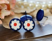 8mm.10mm.12mm.14mm.16mm Colored Enameled brass blank setting Post Earring With  Round Pad  NICKEL FREE (EAR-68-2)