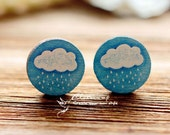 20% off -Unique  3D Embossed Cloud 16mm Round Handmade Wood Cut Cabochon to make Rings, Earrings, Bobby pin,Necklaces, Bracelets-(WG-6)