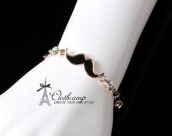18K Rose Gold Plated mustache bracelet bangle Bridal Wedding, Mothers Jewelry, Birthday Birthstone Jewelry (JPCP)