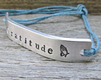 GRATITUDE Friendship Bracelet Prayer Praying Hands ONE Custom Hand Stamped Name Tie On Hemp Cord Personalized