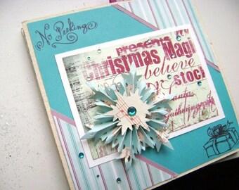 Winter Christmas holiday mini scrapbook accordian fold album