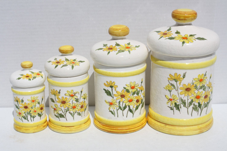 Fleur De Lis Kitchen Canisters Vintage 70s Daisy Flower Ceramic Canister Kitchen Set Sears