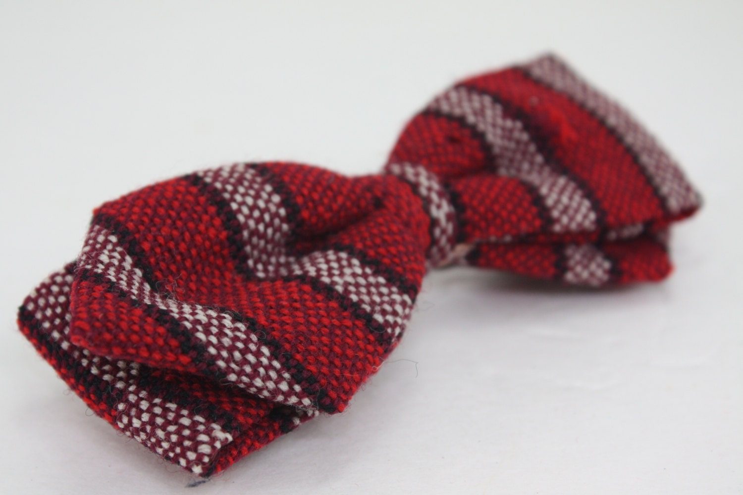 vintage clip on bow tie wool striped