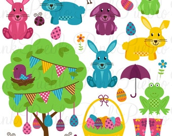 Easter Clipart Clip Art, Easter Bunny Rabbit Egg Clipart Clip Art Vectors - Commercial and Personal Use