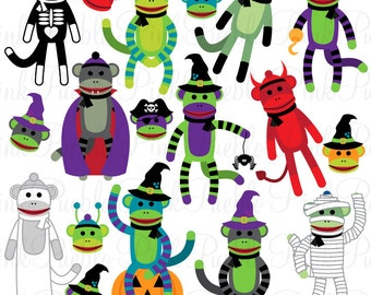 Halloween Sock Monkeys Clipart Clip Art Vectors, Great for Sock Monkey Halloween Party Invitations or Decor - Commercial and Personal Use