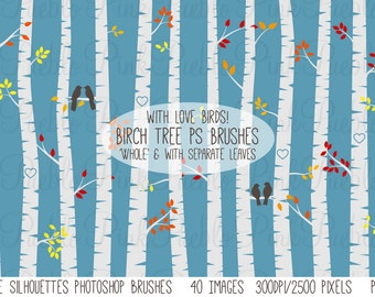 Birch Tree Silhouettes Photoshop Brushes, Autumn Aspen Tree Photoshop Brushes - Commercial and Personal Use