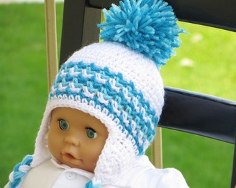 Crochet Ear Flap Hat Pattern, Crochet Baby  Boy Pattern, Crochet Hat Pattern, Hayden Ear Flap Hat