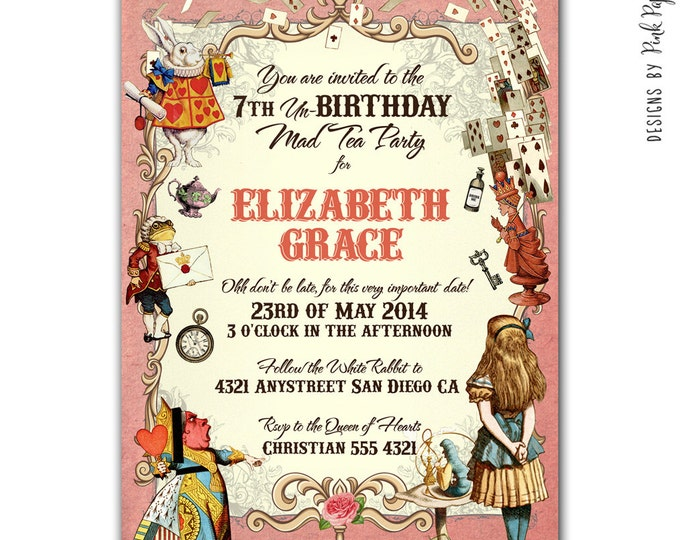 Alice in Wonderland Invitation, I will customize for you, Print your own