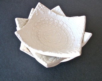 White Square Lace Embossed Dishes Set of Four Small Bowls