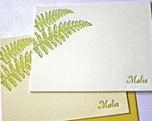Personalized Letterpress Stationery Fern Kupukupu Script Font Golden Green