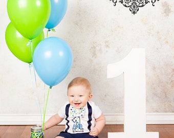 Personalized First Birthday Boy Suspender Bodysuit with Matching Removable Bow Tie