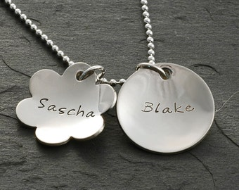 Personalized  Necklace - hand stamped - 2 concave name discs - flower and circle charm - mothers necklace