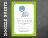 Printable Birthday Party Invitation - 1st Birthday Boy - Elephant with a balloon Design - Elephant Invitation.