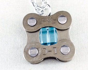 cycling blue glass recycled metal bicycle chain pendant bicycle jewelry, bike jewelry, bicycle part jewelry, bicycle accessory