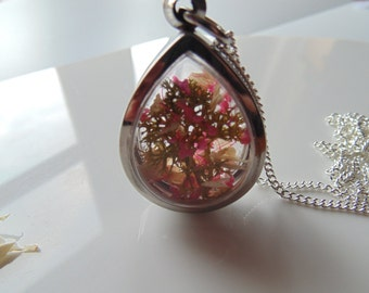 Cherry Blossom Pendant, Teardrop Necklace, Sakura, Blossom Tree Necklace