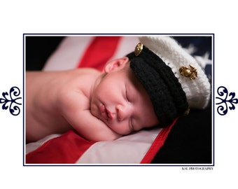Newborn Marine Hat, Baby US Marine Hat, Newborn Marine, Military Photo Prop, Newborn PHOTO PROP, Newborn Hat, Baby Hat, Crochet Marine Hat