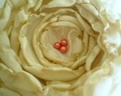 Fabric flowers---1 large antique ivory-- upcycled