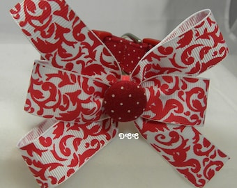 Dog Collar Red Fabric w White Swiss Dots Damask Ribbon Bow Adjustable D Ring  Choose Size Accessories Accessory Pet Pets