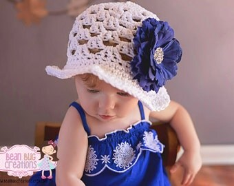 """White Crochet Sun Hat with 4"""" Navy Flower--Custom Made to Order/Boutique Sun Hat/ Photography Prop/"""