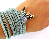 Crochet wrap bracelet / necklace, teal, cuff bracelet, bohemian jewelry,  crochet jewelry, fiber jewelry, spring fashion, wrist band