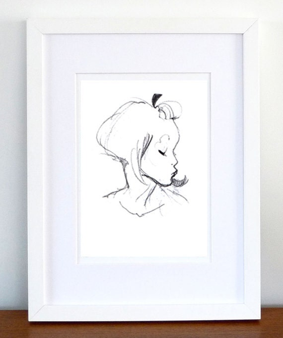 Print, Art Print, Wall Decor, Wall Art, Illustration Print, Black Pencil Kiss Drawing - print 8x11.5 inch (21x29.5 cm)