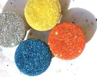 4 GLITTER MAGNETS orange yellow silver and blue