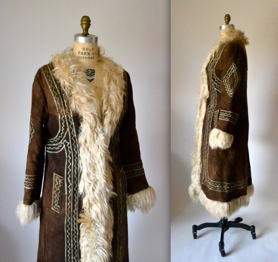 Vintage Embroidered Shearling Afghan Jacket Coat Size Medium//